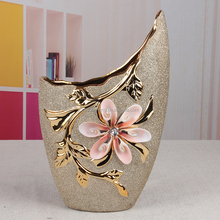Gold sand plated ceramic house design centerpiece vase