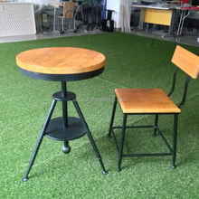 Industry vintage metal wood bar stool chair and table