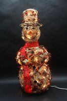 Rattan snowman with berries with clear lights natural