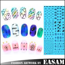 Large Sheet Stickers 3D Water Transfer Nail Decals-eye,flower,cat,eye,car,carton,animal