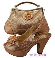 BCH07 peach color shoes matching bags / new arrival shoes n bags/ new shoes bags