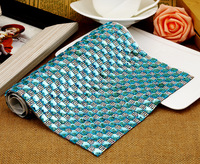 Nice Aquamarine Color 24x40cm Adhesive Rhinestone Sheets,Backing With Glue DIY Cut Square Rhinestone Mesh