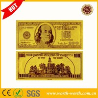 Engraved Exquisite US Bank Note 24K Gold Foil Plated USD 100 Dollars Gold Banknote Gift For Business And Collection