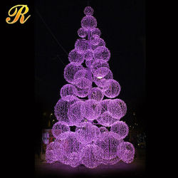 2015 New Design outdoor large led ball christmas tree for shopping mall
