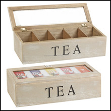6 Compartments customized wooden tea boxes with glass lids and divider