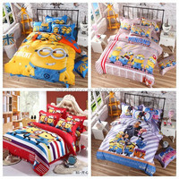 1.2-1.35M bed sheet 3 pcs set minions bedding despicable me bedding TF-W01151015001