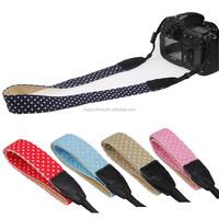 Factory Supply Fashion Polka Dot Style Camera Strap Custom Wave Point Camera Neck Shoulder Strap DSLR