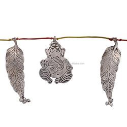 2015 New Gift White Metal Indian Ganesh & Leaf Door Hanging or Door Toran