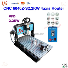 Reliable manufacturer! good price CNC 6040Z-S2.2KW 4axis Router Engraver/Engraving Drilling and Milling Machine