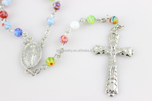 Colorful glass Rosary Necklace, Jesus Cross color glass Bead cross Necklace