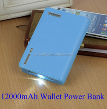 Hot Sell 12000mAh wallet power bank for iphone Samsung cellphone