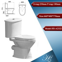 HS-7022 white color toilet ceramic two-piece wc price in india