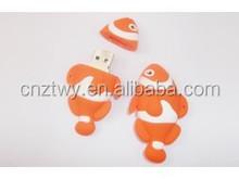 new arrival cute cartoon fish shape usb flash disk pvc usb flash drive for promotion gift usb 2gb 4gb
