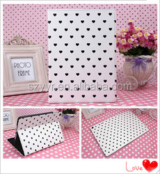 Retro style heart pattern PU leather case cover for ipad 5 ipad air