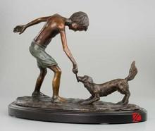 Bronze boy playing dog statue child sculptures