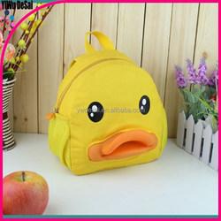 2015 children's bag yellow duck canvas backpack cartoon school bag