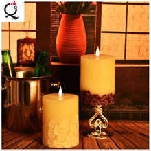 wedding battery operated variety of size ivory Moving wick LED candles without flame/