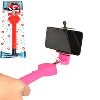 Mobile Phone Camera Selfie Monopod Kiss Lips Extendable Handheld Monopod Holder Selfie Stick With Wire For Smart iPhone Android
