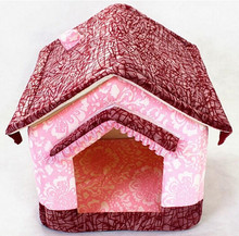 Unique Cute Pet Dog Houses Soft Foam Padded Folding Small Dog Kennel Detachable Wash Cat Puppy Bed