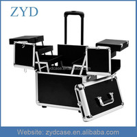 Best Price Upscale Rolling Makup Train Case Aluminum Hair Stylist Tool Case ZYD-HZMhairc004