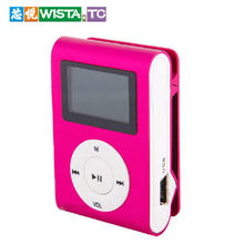 LOT LCD Metal Clip mp3 music player with card slot mini mp3 player 5 colors MP3/WMA/WAV Format