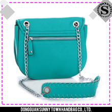 Hot sale green synthetic leather bag for women