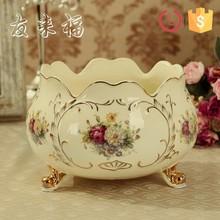 Porcelain ivory color flower design three footed waste bin for home