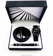 wholesale cheap belt pen watch gift set for men