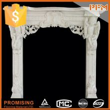hot sale natural well polished Cube Cast Stone Mantel majestic keystone twin pilasters trimmed outside edges fireplace
