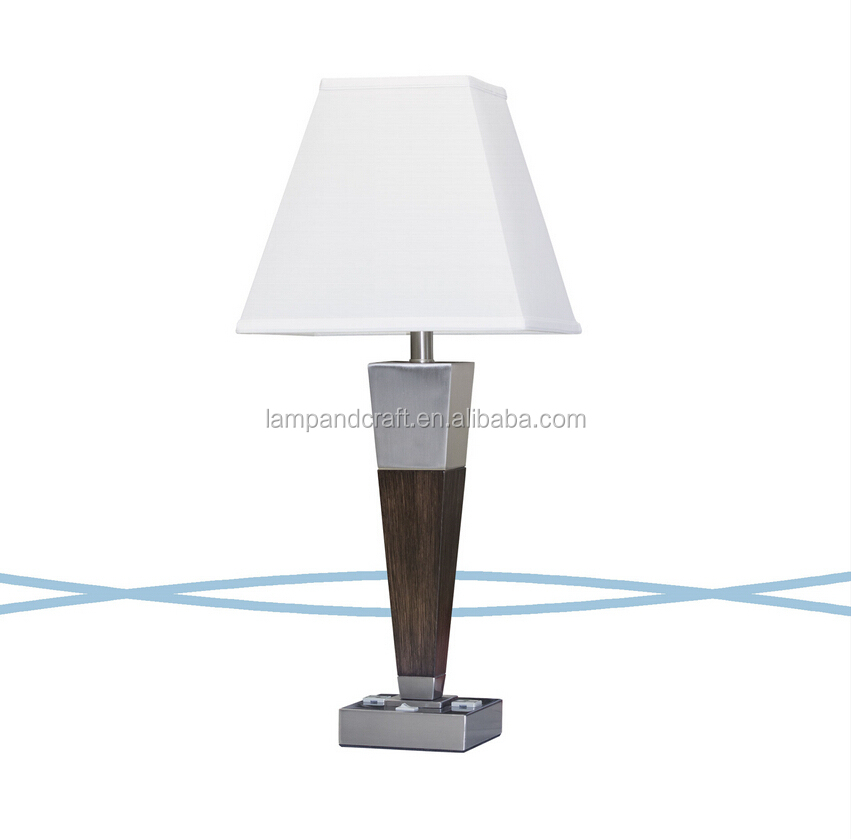 ul cul umbrella shaped wood table lamp with usb and power outlet. Black Bedroom Furniture Sets. Home Design Ideas