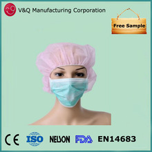 Hospital 3 ply PP non woven anti smoking face mask with ties