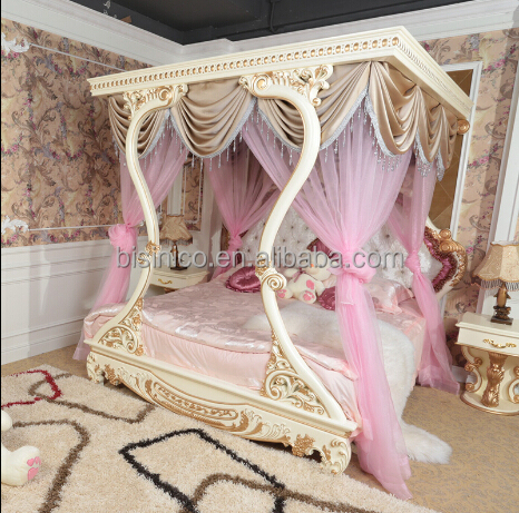 New Product Italian luxury Bedroom Furniture , Classical Hand Carved Wooden Bed, Luxury ...