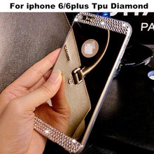 New Product Crystal Mirror Skin Soft TPU Case Luxury Bling Diamond Phone Protective Back Cover For iPhone 6 4.7 6Plus 5.5