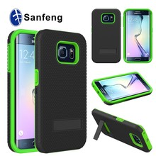 China manufacturer kickstand mobile phone case for samsung galaxy s6 edge G9250 G925F plastic smart cover silicone material