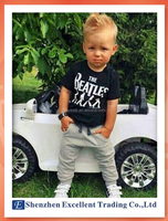 Summer Casual Sports Style Boys Clothes The Beatles Printed Boys 2PCS Sports Clothes Set (T-shirt+Pants)