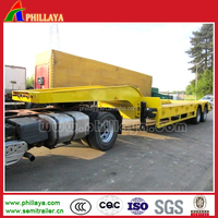 3 axle 70tons lowboy trailer with leaf spring suspension for sale