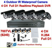 Home Security 700TVL 36pcs IR LEDs NightVison Camera 4CH Full D1 H.264 DVR Kit Day CCTV Camera System