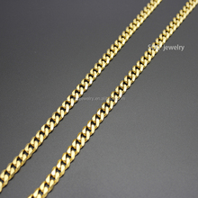 Unisex Wide Vintage Wholesale Latest Designs Stainless Steel Gold Plated Cuban Long Chain