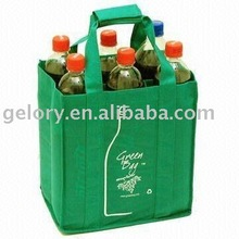 Promotion Non woven 6 sports water bottle bag with velcro pad handle custom logo