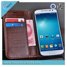Luxury design flip wallet case For Samsung s4 leather material case