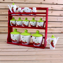 13pcs bright color kitchenware type ceramic,foood cantainer, canister set,storage container with wooden stand