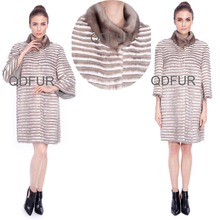 QD80146 Woman Winter Genuine Knit Mink Fur Long Coats with Wool Cashmere Lining Coat