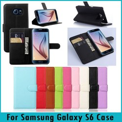For Galaxy S6 Case Litchi Solid Skin Wallet Stand Flip PU Leather Case For Samsung Galaxy S6 Phone Case