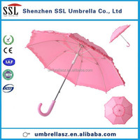 High quality Pretty princess pink child umbrella with frills