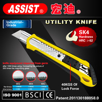 Famous Ningbo Heavy duty steel snap-off SK4 18mm utility knife blade utility cutter knife