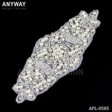 Iron on Rhinestone couture crystal with pearl beaded applique for bridal accessories