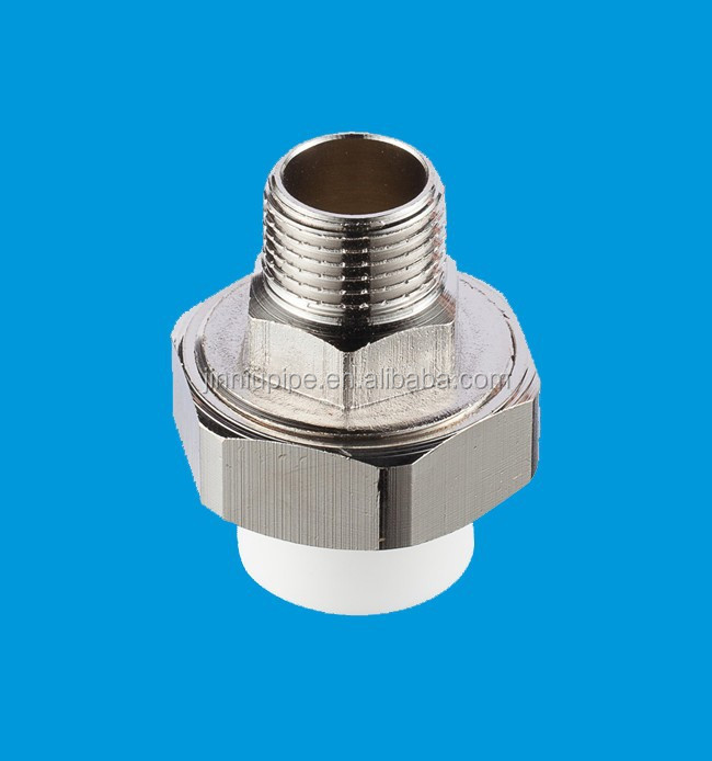Green white color din ppr pipe and fitting male brass