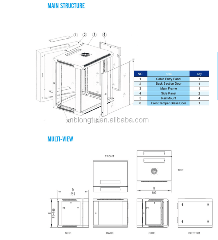 Double Section Wall Mount Cabinets With Glass Door Network Cabinet