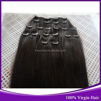 World Best Indian Products International Marketing Hot Sale 24' Straight Colored Indian Clip On Hair Natural Black Color