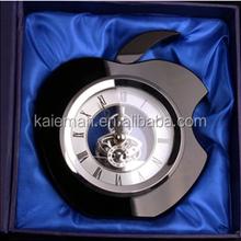 Black apple shape crystal quartz desk clock